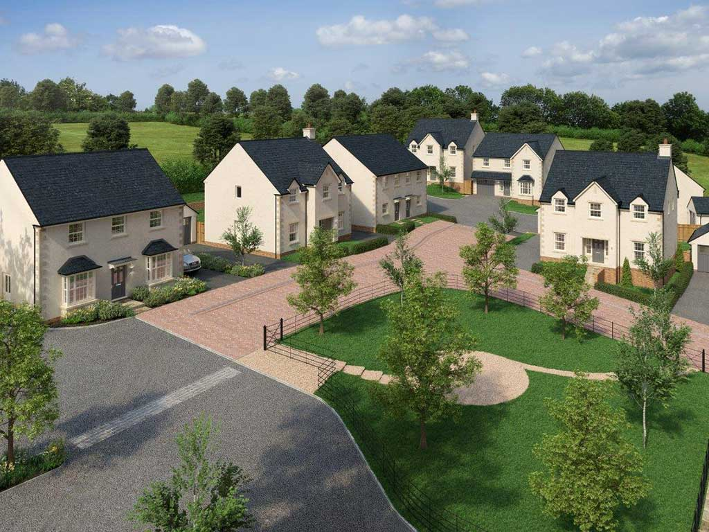 A computer generated image of Llanfair Meadow, Aberthin, where Edenstone has built its first carbo zero home for sale.